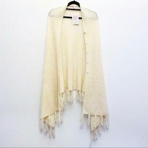 NWT LuLaRoe Mimi Cream Acrylic Fringe Sweater